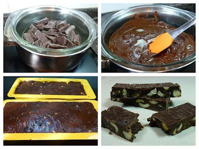 Elaboración del turrón de chocolate avellanas y pasas