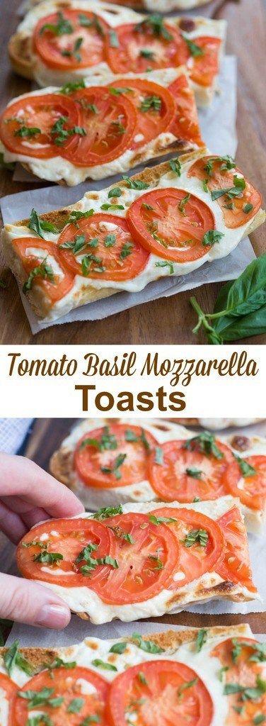 Simple Tomato Basil Mozzarella Toasts
