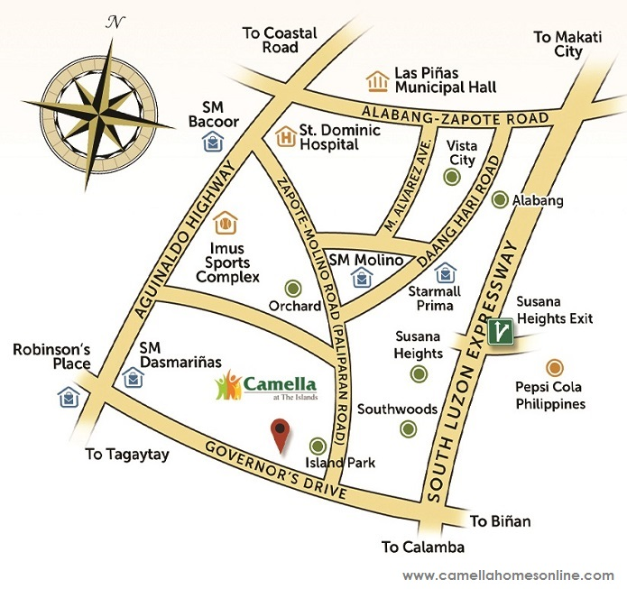 Vicinity Map Location Elaisa - Camella Dasmarinas Island Park | Crown Asia Prime House for Sale Dasmarinas Cavite