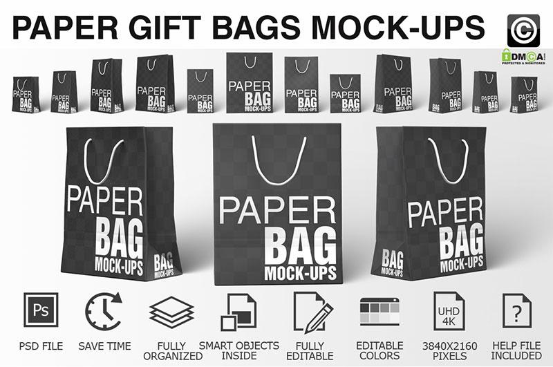 Paper Shopping Bag Mockups Bundle