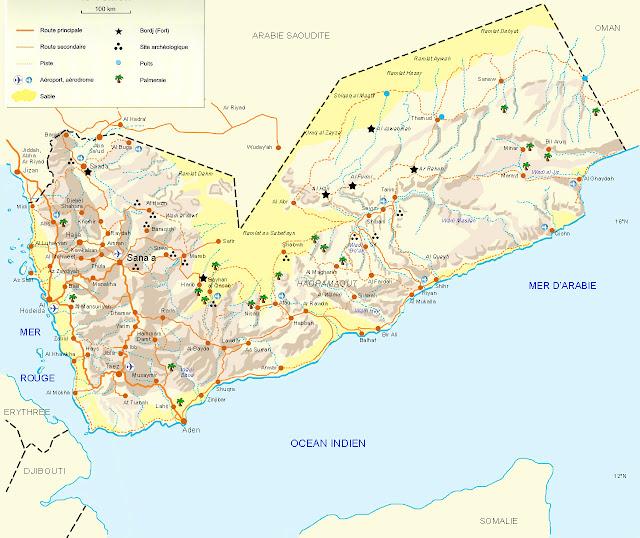 Carte simple du Yemen