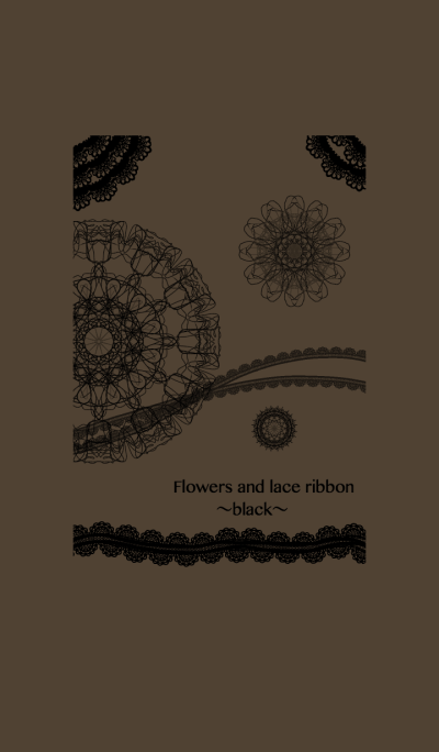 Flowers and lace ribbon-black-