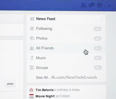 facebook news feed select