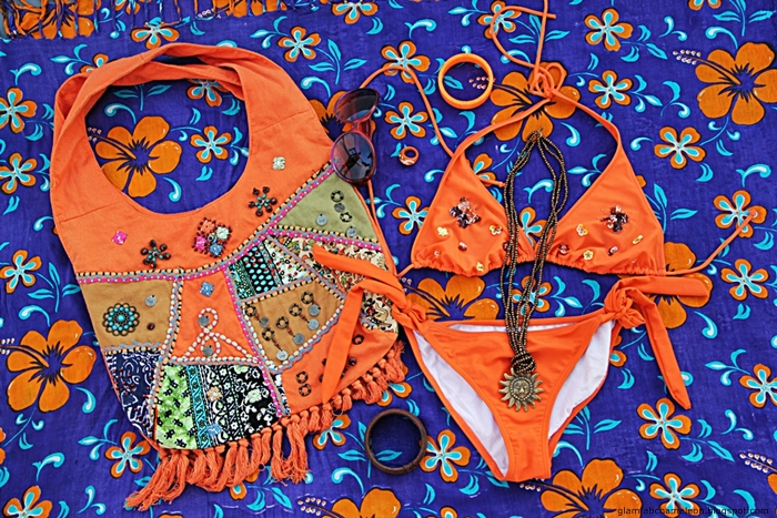 orange bikini styled outfit fashion flatlay