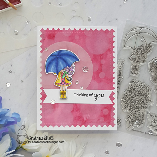 Thinking of You Card by Andrea Shell | Loads of Blooms Stamp Set and Bokeh Stencil Set by Newton's Nook designs #newtonsnook #handmade