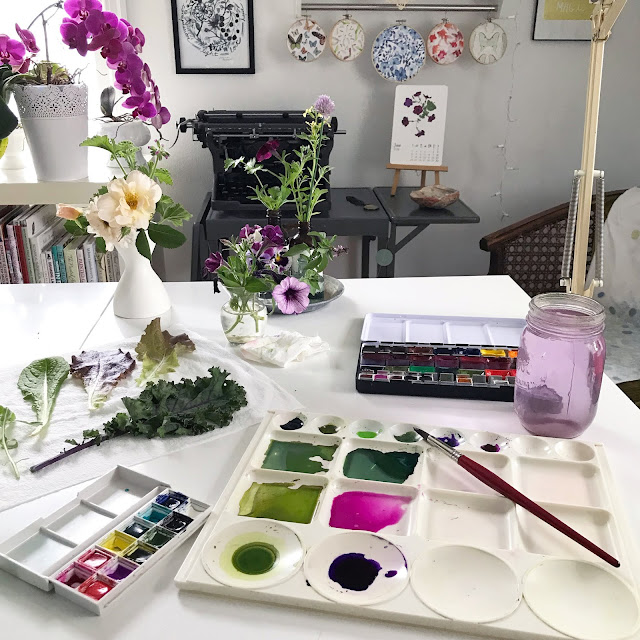 watercolor, painting, process, art process, painting process, color mixing, artist studio, Inspiration, Anne Butera, My Giant Strawberry