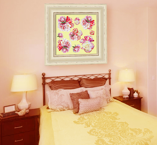 rose pattern painting in interior