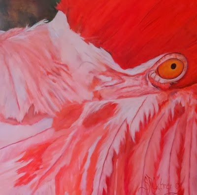 """Flamboyant"",  a pink flamingo in oils"