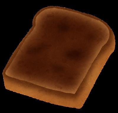 丸焦げのトーストのイラスト