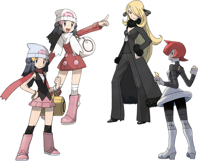 Pokémon Diamond Pearl Platinum artwork Dawn Cynthia Galactic Admin Mars