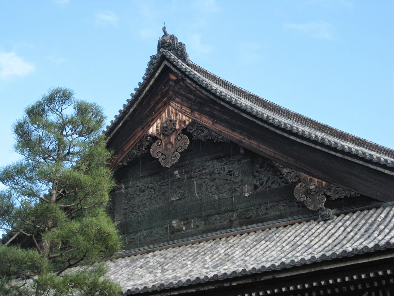 Kyoto - Ornate roof of a temple