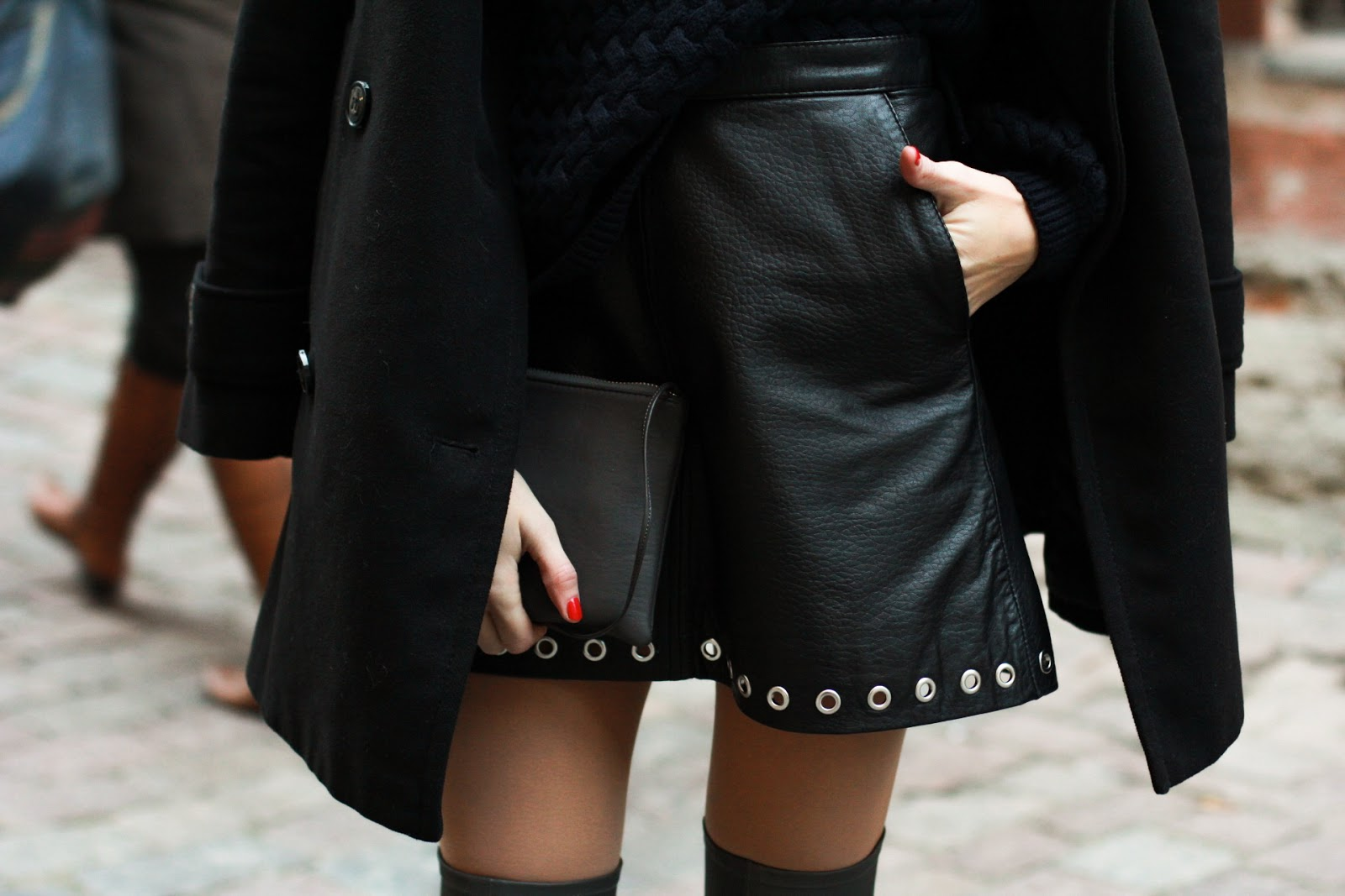 leather mini skirt with studs