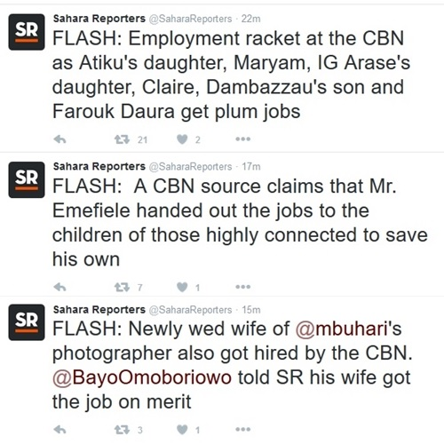 Employment Racket at CBN Exposed, as Atiku's Daughter, IGP's Daughter, Dambazzau's Son & Others Implicated