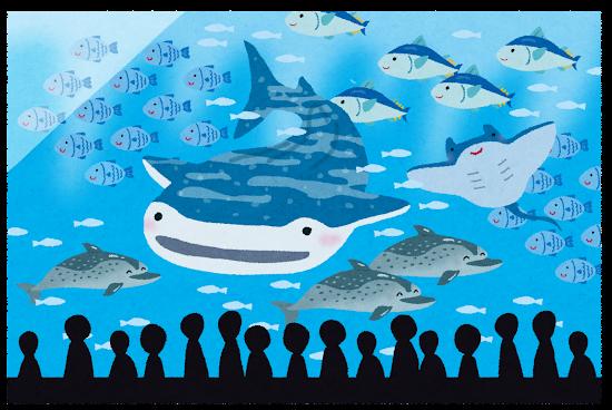 沢山の魚が入った水族館の大きな水槽のイラスト
