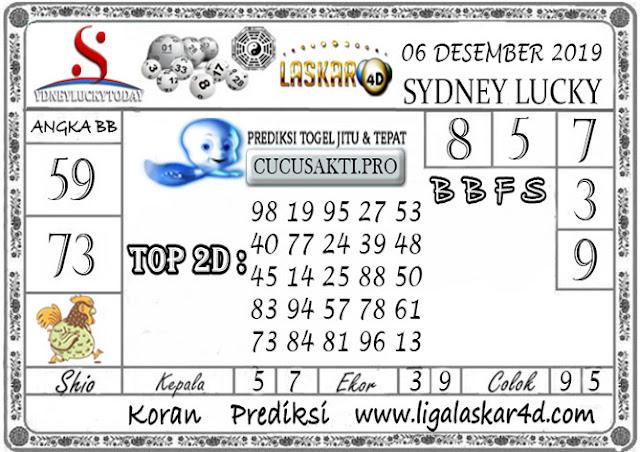 Prediksi Sydney Lucky Today LASKAR4D 06 DESEMBER 2019