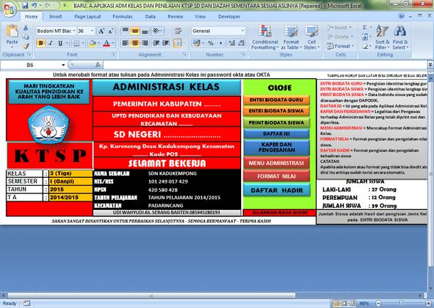 Aplikasi Administrasi Guru Kelas SD Format Microsoft Excel