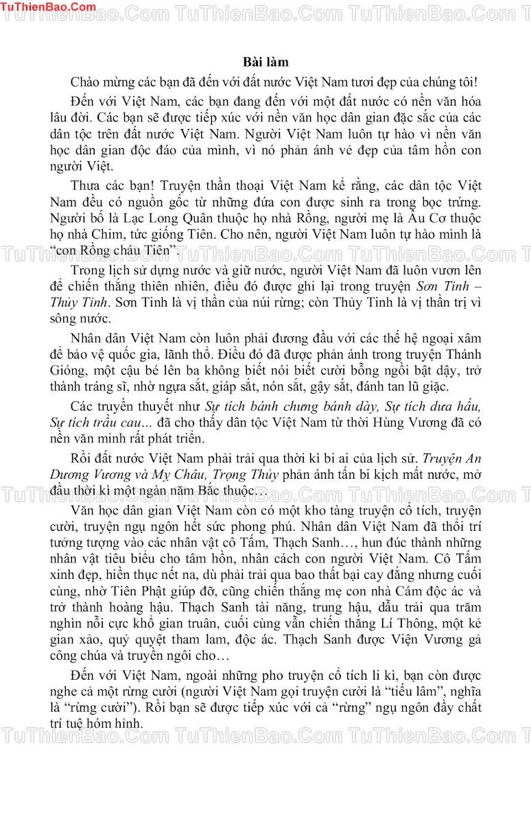 Thuyết minh về văn học dân gian Việt Nam cho đoàn học sinh nước ngoài đến thăm trường em - ๑๑۩۞۩๑๑...TuThienBao.Com...๑๑۩۞۩๑๑