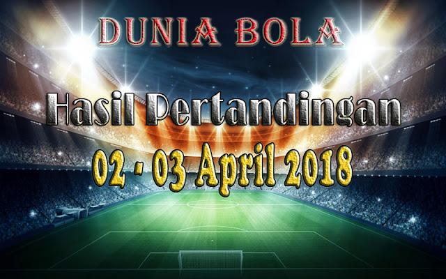 Hasil Pertandingan Sepak Bola Tanggal 02 - 03 April 2018