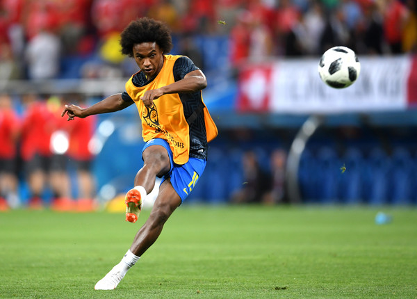 Willian of Brazil warms up prior to the 2018 FIFA World Cup Russia group E match between Brazil and Switzerland at Rostov Arena on June 17, 2018 in Rostov-on-Don, Russia