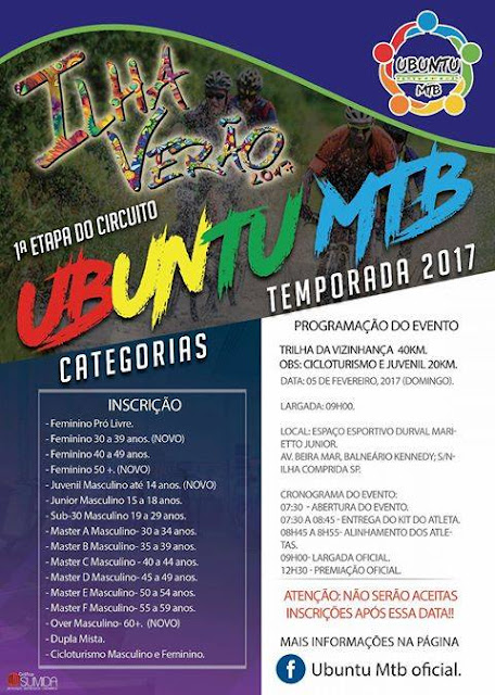 Ilha Verão Esportes 2017 abre inscrições para a 1ª etapa do Circuito Ubuntu de Mountain Bike