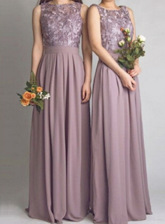 A-line Bateau Floor-length Chiffon Lace Bridesmaid Dresses Long