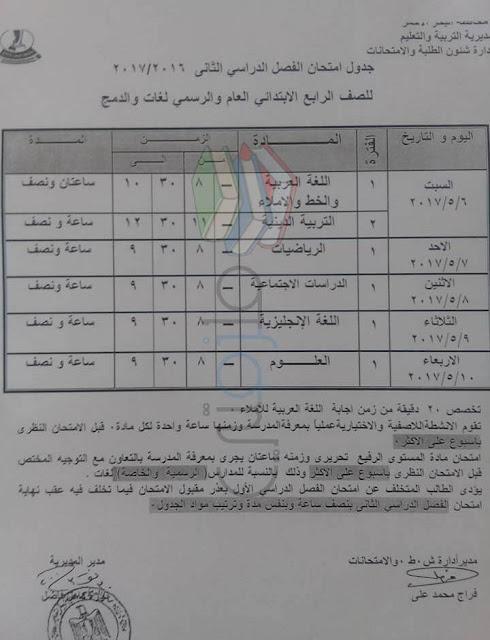 جدول امتحانات الصف الرابع الابتدائي 2017 الترم الثاني محافظة البحر الاحمر