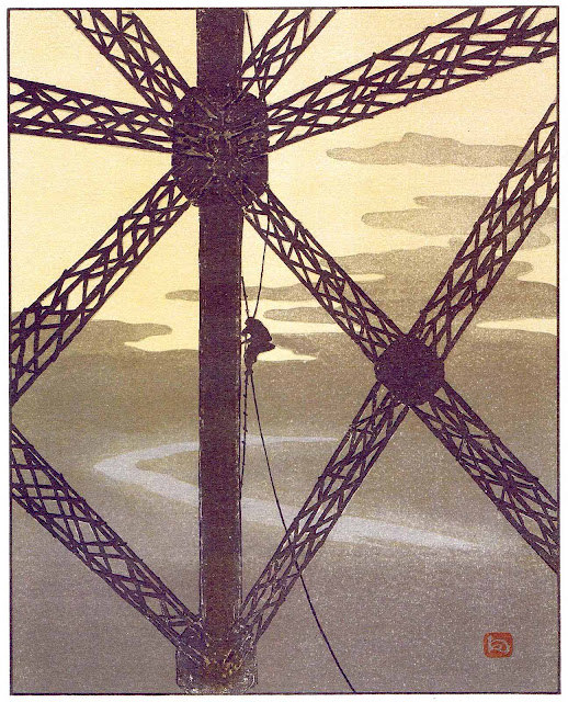 a Henri Rivière print of construction work in silhouette