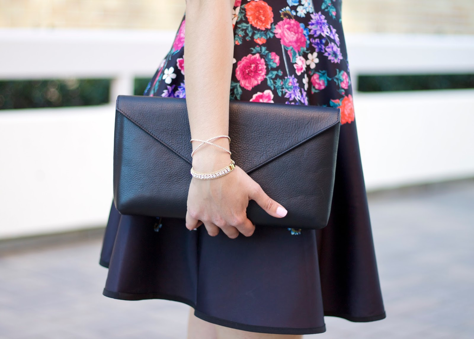 morana accessories, linell ellis clutch, floral dress, chicwish floral dress