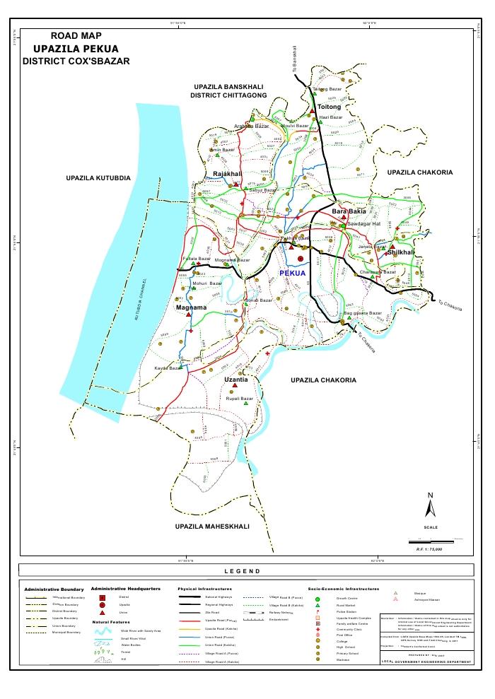 Pekua Upazila Road Map Cox's Bazar District Bangladesh