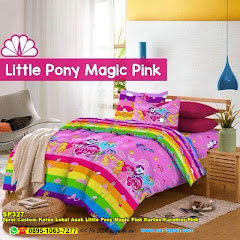Sprei Custom Katun Lokal Anak Little Pony Magic Pink Kartun Karakter Pink