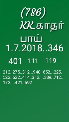 Final guessing number kerala lottery pournami rn 346 by kk dated 01-07-2018