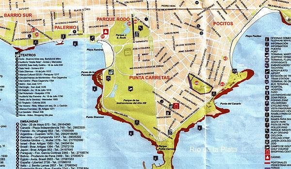 Mapa de Pocitos, Punta Carretas, parques, ramblas e Playa Ramirez