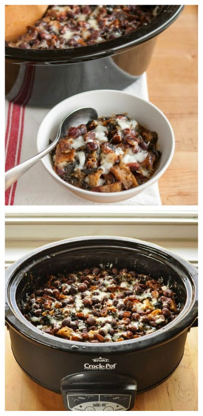 Slow Cooker Cheesy Panade with Swiss Chard, Beans, and Sausage from The Kitchn featured on SlowCookerFromScratch.com