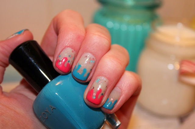 Blue and Pink Gloop Nail Art Tutorial - Zoya, Barry M, Revlon