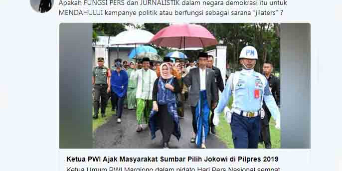 Ketua PWI Ajak Masyarakat Sumbar Pilih Jokowi, PWI Alat Kampanye Politik Jokowi?