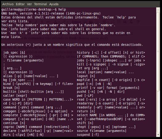 Command line, diccionario GNU/Linux