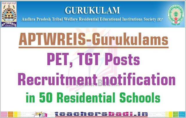 PETs,TGTs Recruitment,APTWREIS Residential Schools 2016