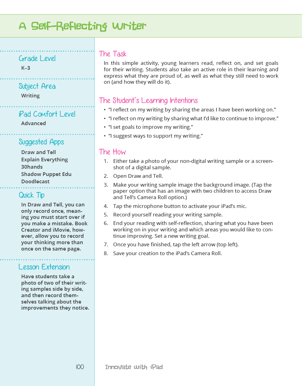 learning and sharing ms lirenman  to accompany the book kristen and i have created a website here you will all the student examples as well as access to the able task cards