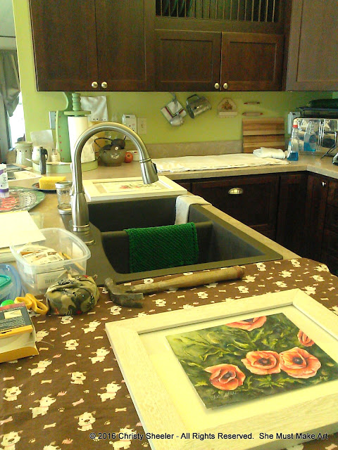 Kitchen counters are work space for the framing process.