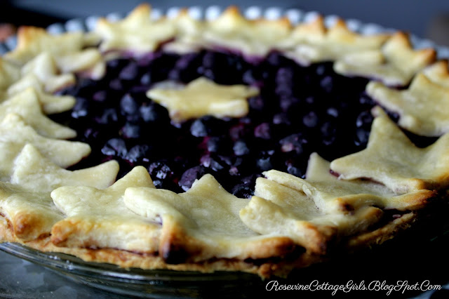 blueberry pie, Blueberry pie recipe, Patriotic Blueberry Pie, Organic Blueberry Pie By Rosevine Cottage Girls