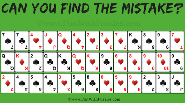 It is Gaps Solitaire Card Game Picture Puzzle in which your challenge is find mistake