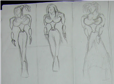 Female Poses hand sketch drawings