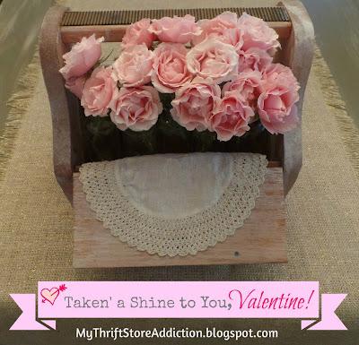 I've Taken' a Shine to You, Valentine  mythriftstoreaddiction.blogspot.com Repurposed vintage shoe box as valentine centerpiece!
