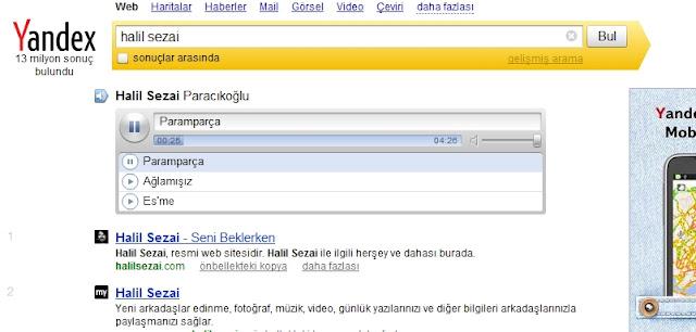 Yandex in üstü. Yandaki sitenin tanıtımı Yandex