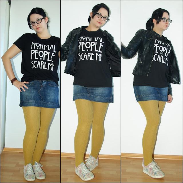 [Fashion] Normal People Scare Me! Jeansrock, Shirt und Mustardfarbene Strumpfhose