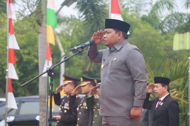 Walikota Tanjungbalai HM Syahrial saat memimpin upacara Hari Kesaktian Pancasila di halaman Kantor Walikota Tanjungbalai,  Senin (1/10).