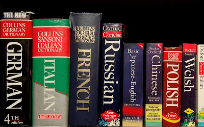 Many dictionaries on a shelf