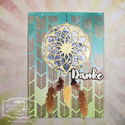 Danke karte mit Marianne Design Traumfänger und MFT Arrows End Background Stamp1