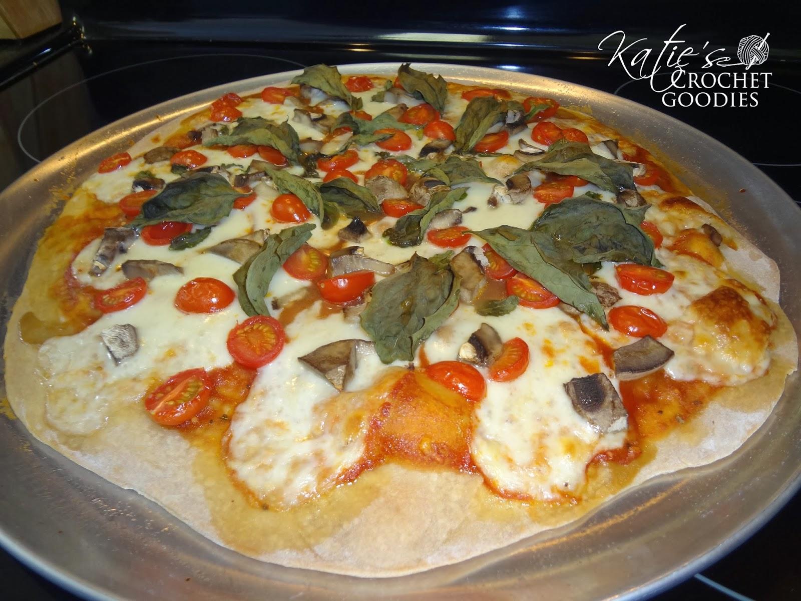 homemade tomato basil pizza