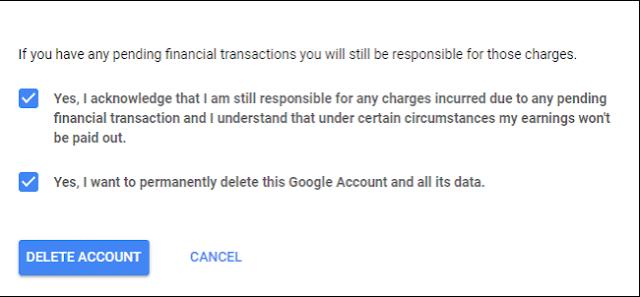 حذف حساب جوجل نهائيا